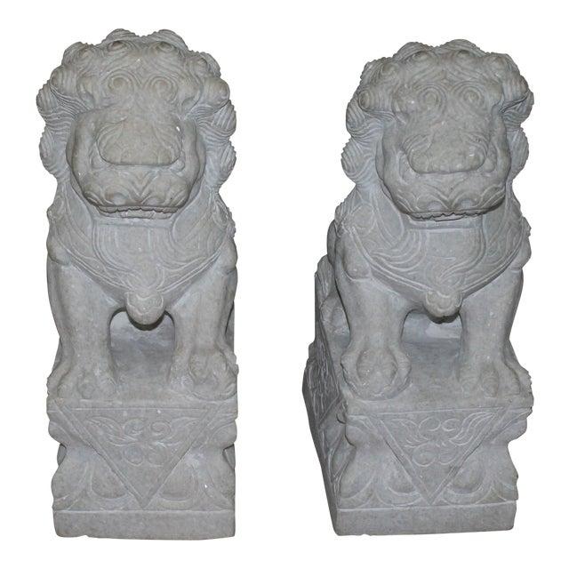 Foo Dog Stone Quartz Statues - A Pair - Image 1 of 5