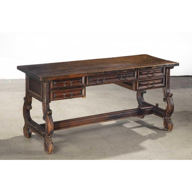 Mediterranean Antique Spanish Colonial Library Writing Table For Sale - Image 3 of 3