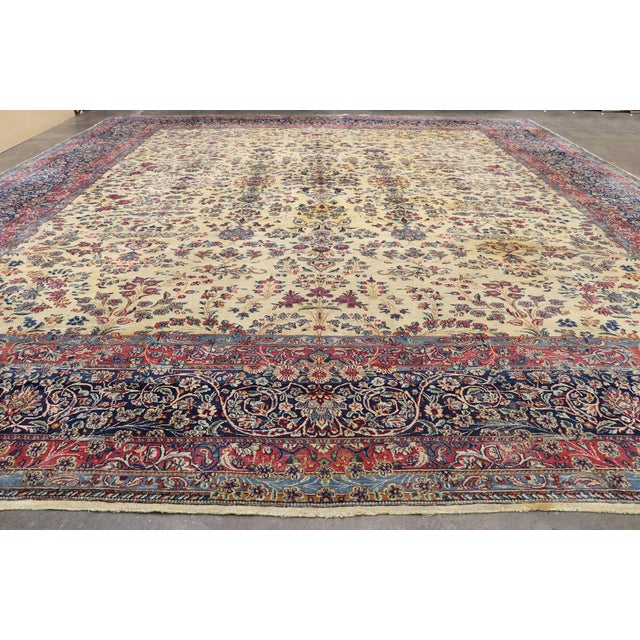 Textile Antique Persian Kerman Palace Size Rug - 12′10″ × 15′2″ For Sale - Image 7 of 10