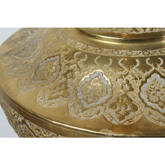 Metal Tall Persian Polished Brass Decorative Urn For Sale - Image 7 of 8