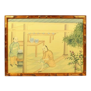 Vintage Chinoiserie Silk Wallpaper Remnant of Ancient Chinese Palace Servants Serving Food in Gilt Faux Bamboo Frame For Sale