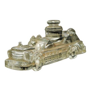 Antique Glass Steam Engine Fire Truck Candy Dish
