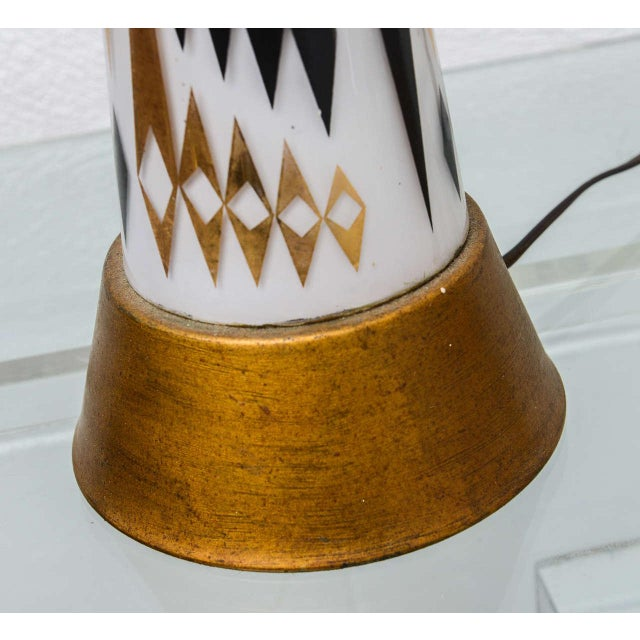 Black Pair of 1950s MCM Glass Lamps--Usa For Sale - Image 8 of 8