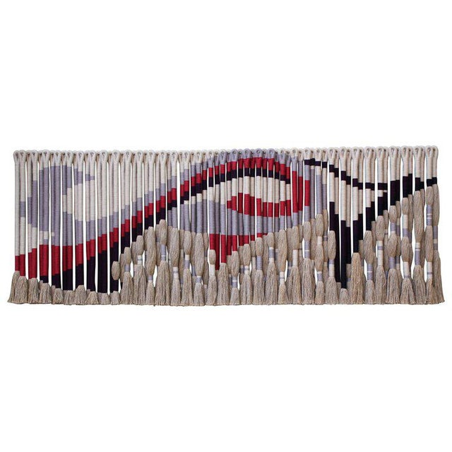 Red Privately Commissioned Jane Knight Fiber Art Installation 'Red and Gray Wave' For Sale - Image 8 of 8