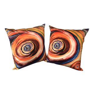 """Bruce Mishell"" Modern Hand Made Abstract Art Print Pillows - a Pair For Sale"