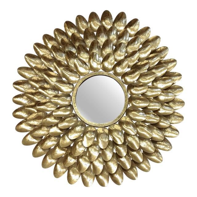 Gold Metal Sunburst-Style Mirror - Image 1 of 9