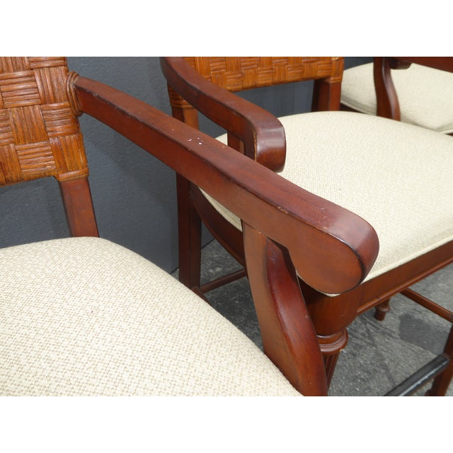Stanley Furniture Palm Beach Style Rattan Bar Stools - Set of 3 - Image 8 of 13