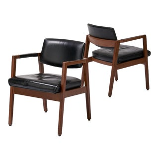 Vintage Mid Century B. L. Marble Furniture Company Walnut and Leather Armchairs - a Pair For Sale