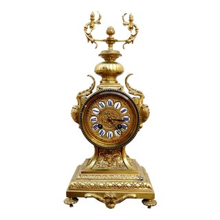 Late 19th Century Antique French Japy Freres Gilt Bronze Mantle Clock For Sale