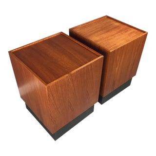 Mid-Century Milo Baughman Style Teak Cube Side Tables - a Pair For Sale