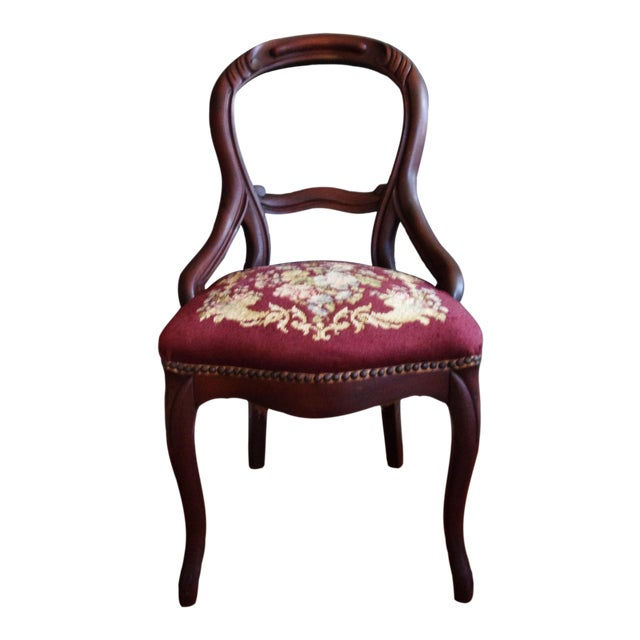 Late 19th Century Victorian Carved Mahogany Balloon Back Chair For Sale