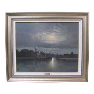 """Moonlight Over Maassluis"" Holland Dutch Original Oil Painting Signed Andre Balyon For Sale"