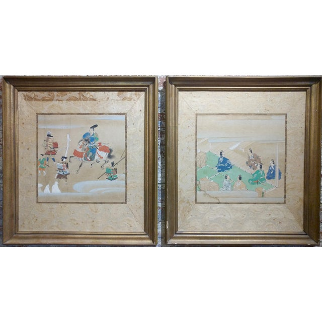 "Chinese Antique Paintings on Paper - a pair frame size 23 x 25"" paper size 20 x 22"""