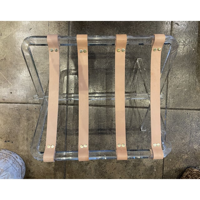 Lucite & Leather Folding Luggage Table For Sale - Image 4 of 9