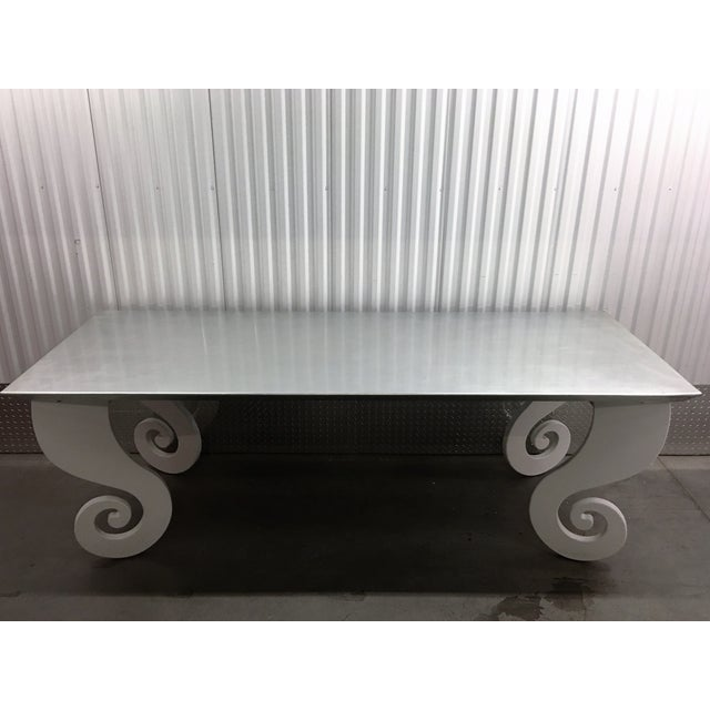 Silver Lacquer Pinwheel Legged Hall Table - Image 7 of 7