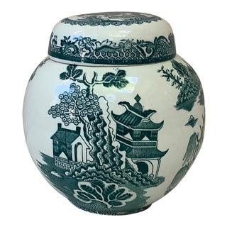 1930s Vintage Green English Ginger Jar For Sale