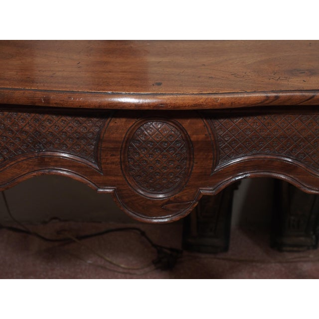 19th Century French Carved Walnut Console For Sale In New Orleans - Image 6 of 8