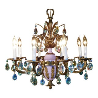 Vintage French 8 Arm 8 Lite Ab Prisms Ornate Lavender Bronze Empire Chandelier For Sale