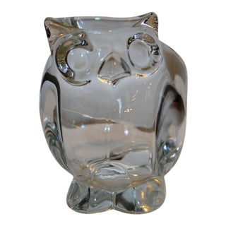 Heavy Glass Owl Figural Candy Dish For Sale