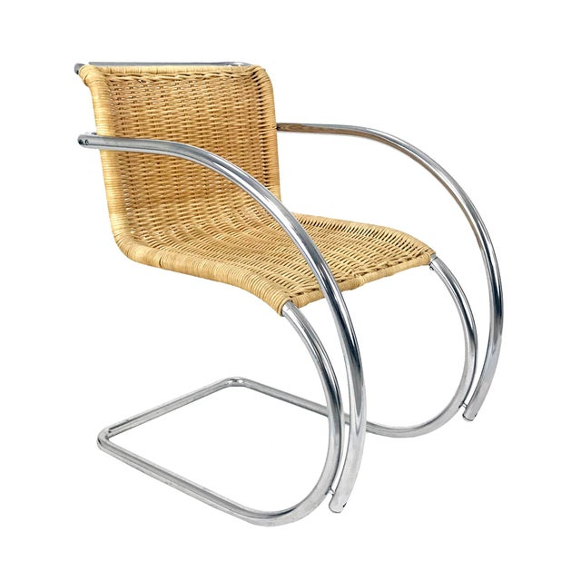 Vintage Chrome & Wicker Chair Mr-20 by Ludwig Mies S Van Der Rohe Style For Sale In Philadelphia - Image 6 of 6