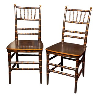 Chinoiserie Faux Bamboo Dining Chairs - a Pair For Sale