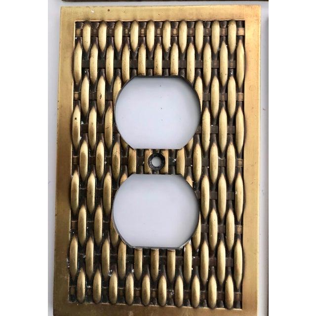 Vintage Brass Basketweave Hardware - Set of 3 For Sale - Image 4 of 7