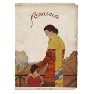 """Femina, November 1923"" Original Vintage French Magazine Cover For Sale"