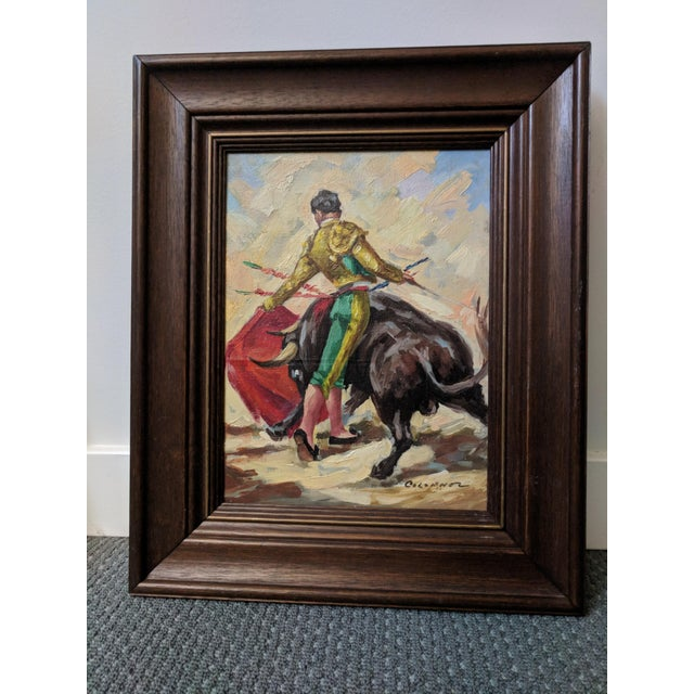 Mid-Century Spanish Bull Fighter Torero Oil Paintings - a Pair - Image 7 of 7