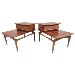 Pair of Two-Tier Floating Top End Tables by Lane Furniture For Sale