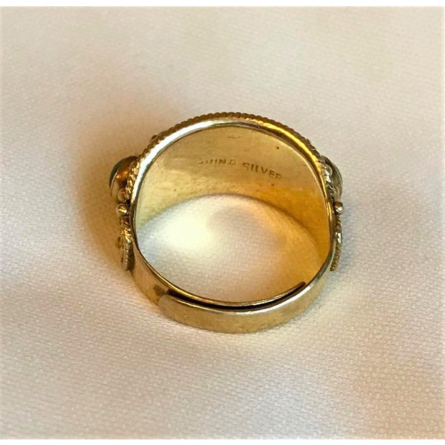 1950s Chinese Gold-Plated Sterling and Jade Ring For Sale - Image 5 of 8