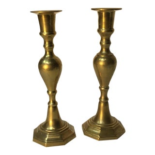 Mid 18th Century French Brass Candlesticks - a Pair
