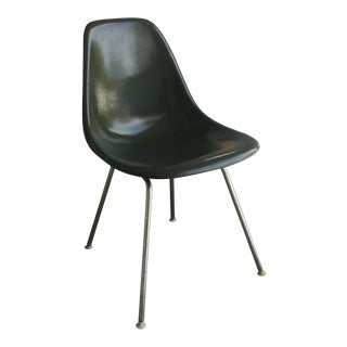 1950s Vintage Eames for Herman Miller Olive Green Dark Fiberglass Shell Chair For Sale