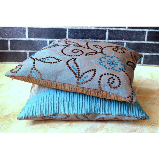 Vintage Floral Handwoven Varanasi Brocade Reversible Pillow For Sale - Image 9 of 13