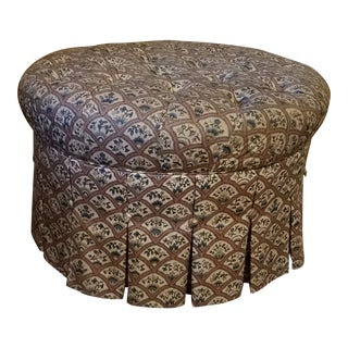 Vintage Ethan Allen Pleated & Tufted Ottoman For Sale