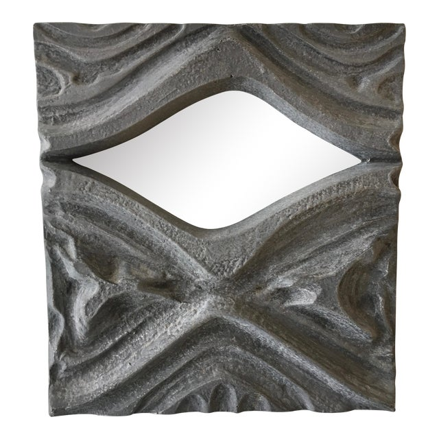 Brutalist Style Pewter Mirror For Sale