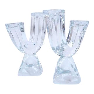 Pair of Daum Crystal Candlesticks For Sale