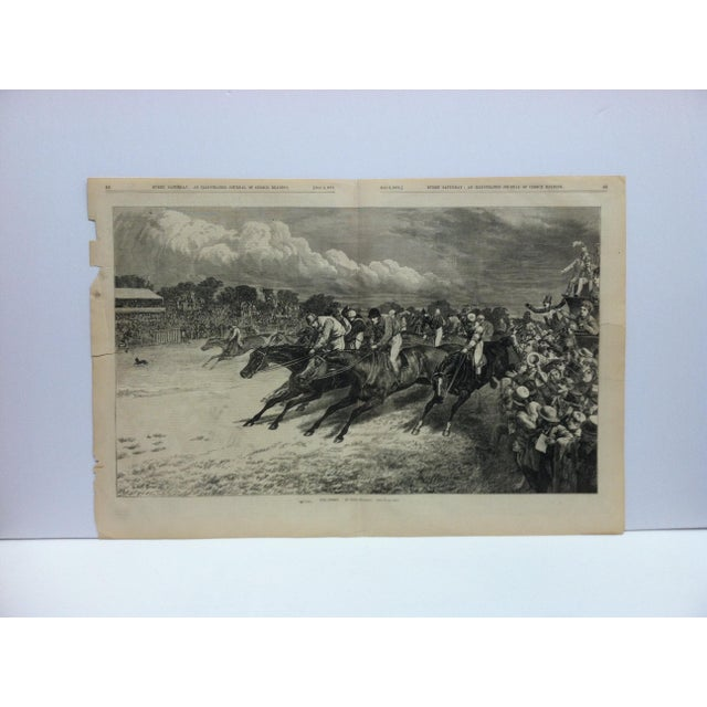 """Mid 19th Century 1870s Antique """"The Derby"""" Basil Bradley Illustrated Journal of Choice Reading Print For Sale - Image 5 of 5"""