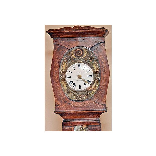 19th century French Morbier repeater clock, bell chime. Enamel signed face, 'Josse' and a hand hammered see-saw swing...