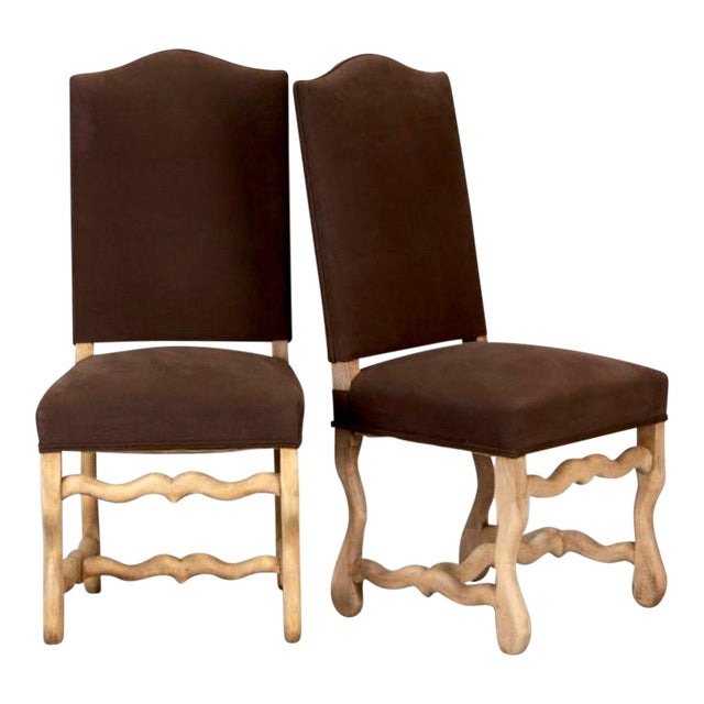 Set of 6 Bleached Oak Wood Os Du Mouton Dining Chairs For Sale