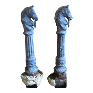 Late 1800's Antique New Orleans Horse Head Iron Hitching Posts - a Pair For Sale