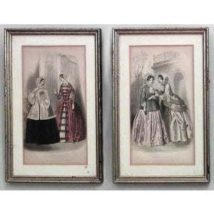 Americana American Victorian prints of 19th Century ladies of fashion in green painted and silver gilt frames- Set of 6 For Sale - Image 3 of 4