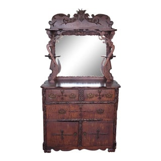 One of a Kind Antique Victorian Artists Made Tramp Art Chestnut & Maple Cabinet W/ Mirror Top For Sale