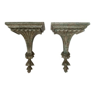1950s Vintage Italian Carved and Painted Wood Corbel Brackets - a Pair For Sale