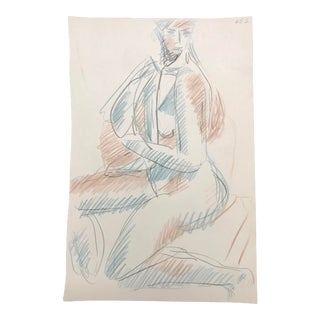 Mid-Century Modern Portrait of a Lady Drawing by James Bone For Sale