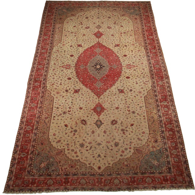 "Palace Size Antique Turkish Knotted Wool Area Rug Size: 12' 4"" x 22' 10"