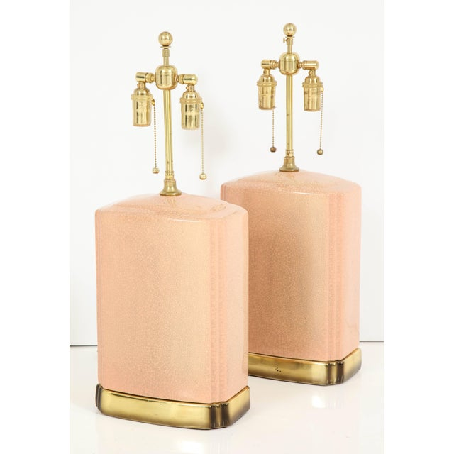 Mid-Century Modern Pink and Brass Crackle Glazed Ceramic Lamps - a Pair For Sale - Image 3 of 12