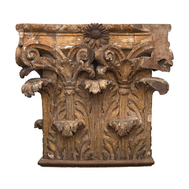 """Pair of 18th-century oak """"chapiteaux,"""" capitals that form the uppermost section of wall columns, from a chateau in the..."""