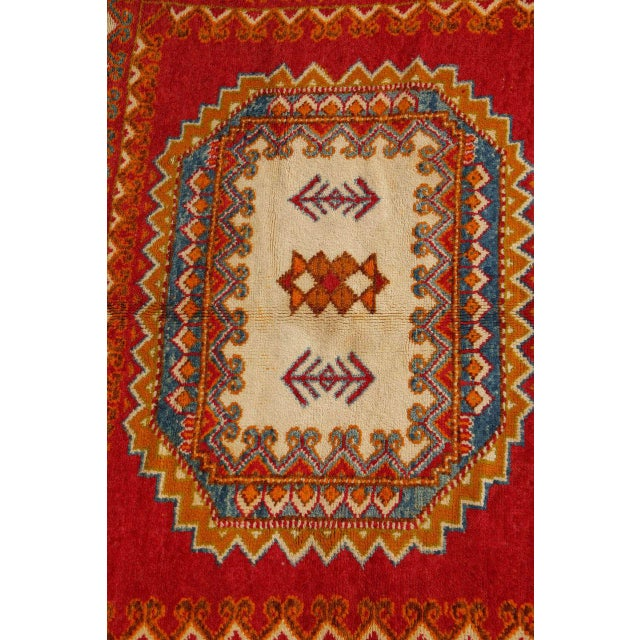 Islamic Vintage Moroccan Orange Tribal Rug For Sale - Image 3 of 10