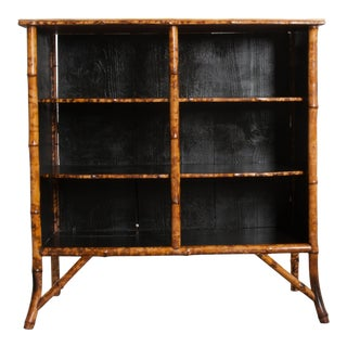 English 19th Century Découpaged Bamboo Bookcase For Sale