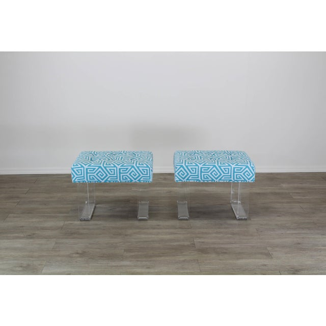 Acrylic Waterfall Benches- a Pair For Sale - Image 4 of 12